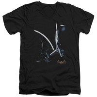 BATMAN AA/ARKHAM BATMAN - S/S ADULT V-NECK - BLACK -