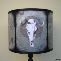 Mechanical Animals lamp shade lampshade - lighting, home decor, animal skull, old west, rustic decor, cabinet of curiosities, goat skull