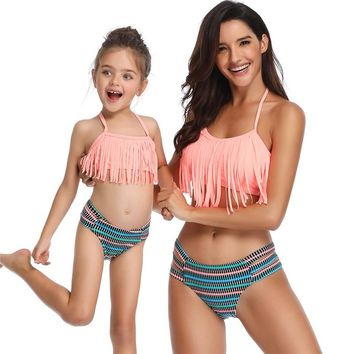 Family Matching Swimwear Mother Daughter Taseel Bikini Bathing Suit Brachwear Swimwear Family Matching Outfits Mom Kids Swimsuit