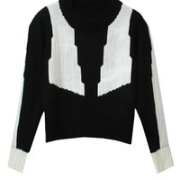 Relaxed Style Geometric Pattern Contrast Color Knitwear