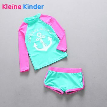 Girl Swimwear 2-Piece Rash Guard Set Anchor Swimsuit for Girls Long Sleeve Children Swimsuits for Girl Swimming Suit Beachwear