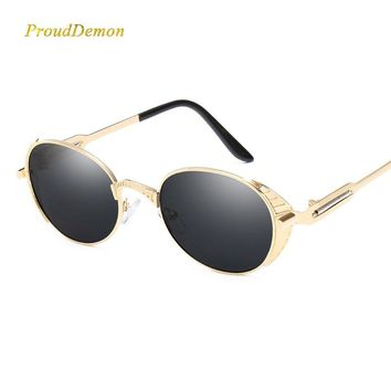 2018 New Men Steampunk Metal Sunglasses Women Mirrored Oval Sun glasses Brand Designer Retro Vintage Gafas de sol metal Eyewear