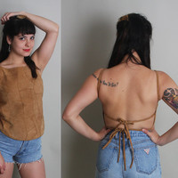 90s BACKLESS Suede Top - Vintage Patchwork Leather Festival Shirt - xs / s