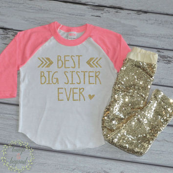Best Big Sister Shirt Girls Big Sister Shirt Gold Big Sis Outfit Little Sister Shirt New Baby Announcement Raglan Top and Sequin Pants 125