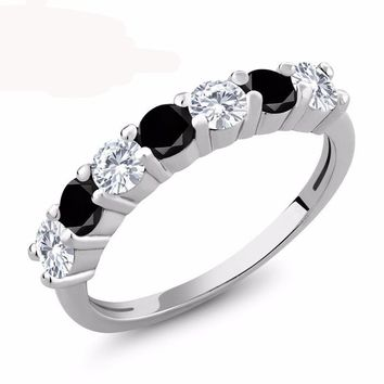 1.07 Ct Round White Created Moissanite Black Diamond 925 Sterling Silver Ring