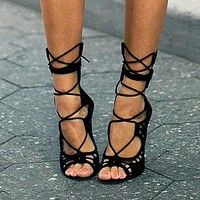 Designer Lace Cut Out Open Toe Gladiator Party High Heels