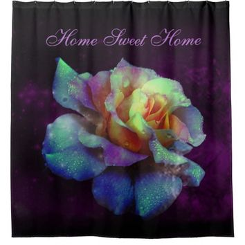 Purple Kissed Turquoise Rose Shower Curtain