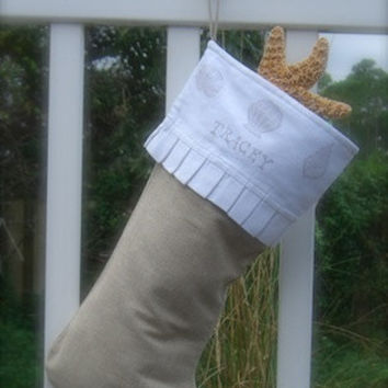 Christmas Stocking Personalized-SEASHELLS-Beach Christmas Decor, FREE SHIPPING, Burlap Stocking, Coastal Holiday, Mermaids