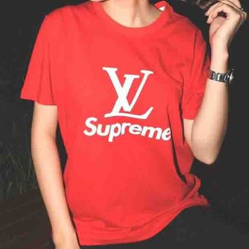 LV Louis Vuitton & Supreme Co-brand Classic Logo Simple Short Sleeve F-AA-XDD red