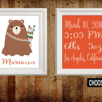 TRIBAL Nursery Wall Art, BEAR Birth Announcement, Birth Stats, Canvas or Prints Woodland Wall Art, Wood Forest Animals