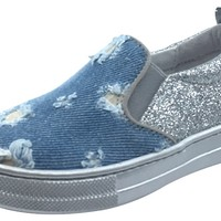 Naturino Girl's Light Glitter Denim & Silver Slip On Sneaker Shoe with Distressing