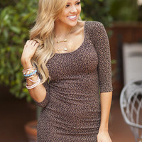 Cheetah Print 3/4 Sleeve Seamless Tunic Dress Brown
