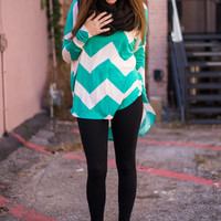 Chevron Top, Teal/Ivory
