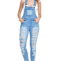 Women's Ripped Up Skinny Overalls RJHO837 - CC1B