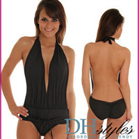 DH-Swimwear-4269-Black Daring Open-Back Plunging One Piece Swimsuit
