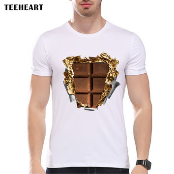 New Summer Fashion CHOCOLATE BAR SIX PACK Design T Shirt Men's High Quality Tops Hipster Tees