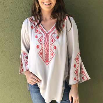Daydream Top- Grey/Red
