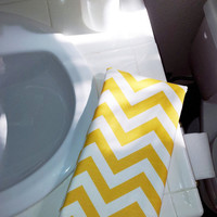 "CHEVRON HAND TOWEL, Bathroom Guest or Kitchen Towel, Designer Fabric backed with Absorbent Terrycloth, 17"" x 24"""