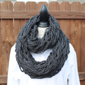 Woman Arm Knit Scarf, Charcoal Scarf,  Charcoal-warmer, Infinity Scarf, Charcoal Chunky Cowl, Charcoal Knit Scarf