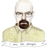 Walter White watercolor portrait PRINT Breaking Bad Heisenberg Bryan Cranston ''I am the danger''