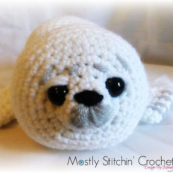 White baby seal; CROCHET PATTERN PDF