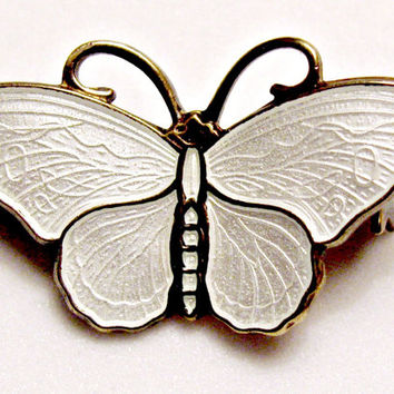 Sterling White Butterfly Pin by David Andersen , Detailed Wings, Guilloche Enamel, Norway 925 S