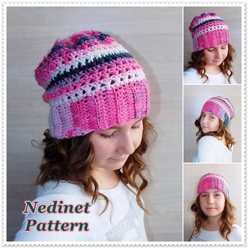 Crochet pattern, crochet slouchy hat pattern, crochet hat pattern, made from batik yarn, child, teen, adult sizes