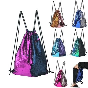 Shiny Colors Sequins Drawstring Bags Cinch String Backpack Funny Funky Cute Novelty