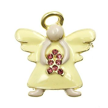Beige Embracing Angel Breast Cancer Awareness Pin And Brooch