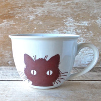 Kitty Tea Cup Mug, 14 oz Teacup Style Mug, Porcelain, Dishwasher Safe, Ready to Ship