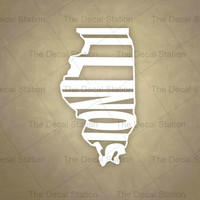 Illinois Vinyl Decal Sticker for Car Truck Auto. Word Art . US State Pride.