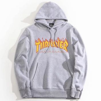 """""""THRASHER"""" Fashion High Quality  Print Flame Movement  Hooded Sweater Grey"""
