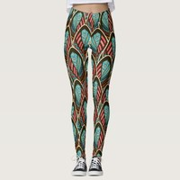 Green Peacock boho feather pattern Leggings