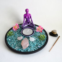 Zen Garden // Meditation Altar // Yoga Statue // Gem Garden // Incense Burner //  Goddess // Rose Quartz // Amethyst Crystal / Candle Holder