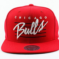 Chicago Bulls NBA Mitchell & Ness Authentic Cursive Retro Script Snapback Hat OSFM Red Red Cap