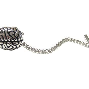 Silver Toned Anatomical Brain Tie Tack