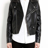BLACK FAUX LEATHER BIKER JACKET - Men's Jackets & Coats - Clothing - TOPMAN USA