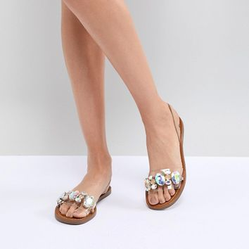 Steve Madden Alice Embellished Flat Sandals at asos.com