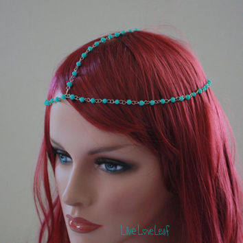 Simple Turquoise beaded Head piece, trendy hair chain, Hair Jewelry, Hair accessories, boho chic headpiece, goddess headdress