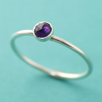 Faceted Amethyst Stacking Ring - Spiffing Jewelry