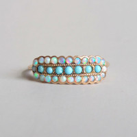 Antique Victorian Opal Ring. 14k Gold Glass Turquoise.