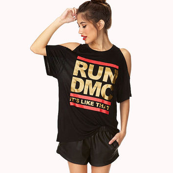 Black Run DMC Metallic Print Halter Off-Shoulder Loose Shirt