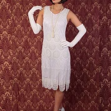 "1920s Gatsby Inspired White Beaded ""Sheba"" Flapper Dress"