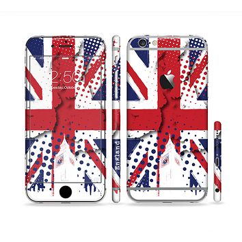 The Grunge Vector London England Flag Sectioned Skin Series for the Apple iPhone 6