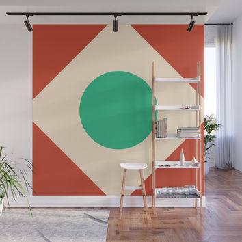 Red Peak Wall Mural by spaceandlines