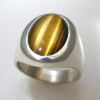 Mens Heavy Sterling Silver Ring with an Oval Tiger Eye | DougPetersonJewelers - Jewelry on ArtFire