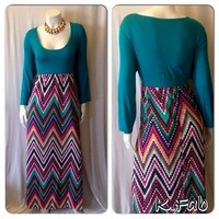 Plus Size Color Block Chevron Maxi Dress Size 2X
