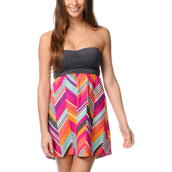 Roxy Savage 2 Fuschia Print Strapless Dress