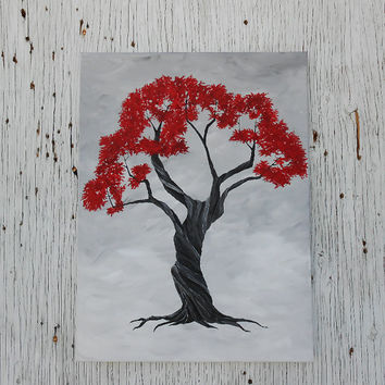 Red and Black Tree Painting, Original Acrylic Painting, Twisted Tree Painting, Hand Painted Canvas, Original Art, Red and Black Decor