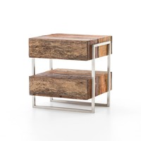 KASON SIDE TABLE, Peroba Natural, Beech Walnut, Stainless Steel